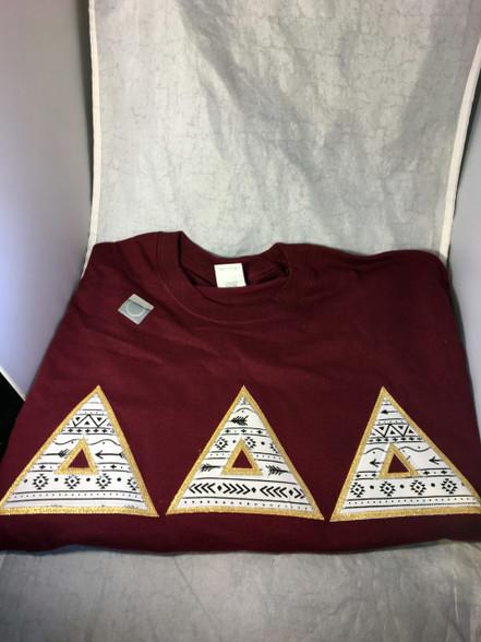 Delta Delta Delta Tri-Delta Sorority Arrow Double Stitched Letter Shirt- Maroon