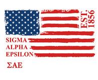 Sigma Alpha Epsilon SAE Fraternity Comfort Colors Shirt- American Flag