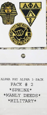 Alpha Phi Alpha Fraternity Peel and Stick Patches- Pack #2