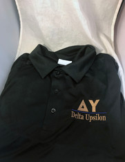 Delta Upsilon DU Fraternity Dri-Fit Polo- Black