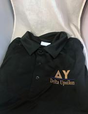 Delta Upsilon DU Fraternity Dri-Fit Polo- Black