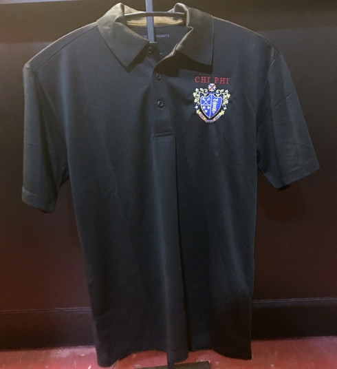 Chi Phi Fraternity Dri-Fit Polo- Crest