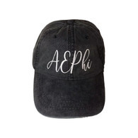 Alpha Epsilon Phi AEPHI Sorority Script Hat- Charcoal