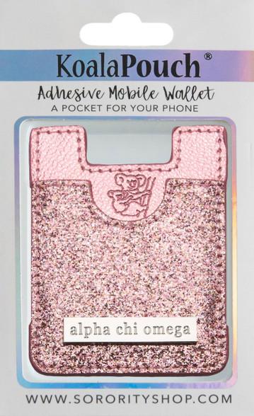 Alpha Chi Omega Koala Pouch- Pink Glitter