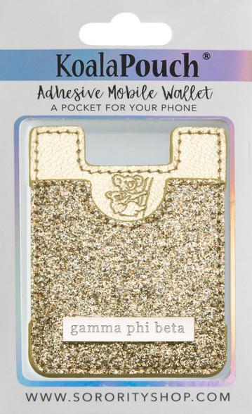 Gamma Phi Beta Sorority Koala Pouch- Gold Glitter