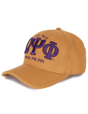 Omega Psi Phi Fraternity Three Greek Letters Hat- Old Gold- Style 2