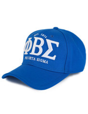 Phi Beta Sigma Fraternity Three Greek Letters Hat- Blue- Style 2