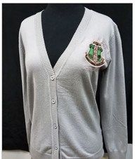 Alpha Kappa Alpha AKA Sorority Button Up Cardigan- Silver