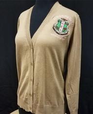 Alpha Kappa Alpha AKA Sorority Button Up Cardigan- Tan