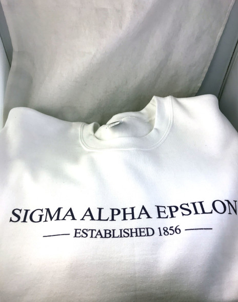 Sigma Alpha Epsilon SAE Crewneck Sweatshirt- White
