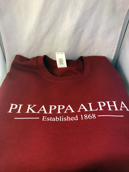 Pi Kappa Alpha PIKE Crewneck Sweatshirt- Garnet