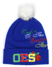 Order of the Eastern Star OES Pom Beanie- Blue