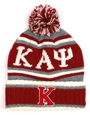 Kappa Alpha Psi Fraternity Pom Beanie- Crimson/Gray- Front