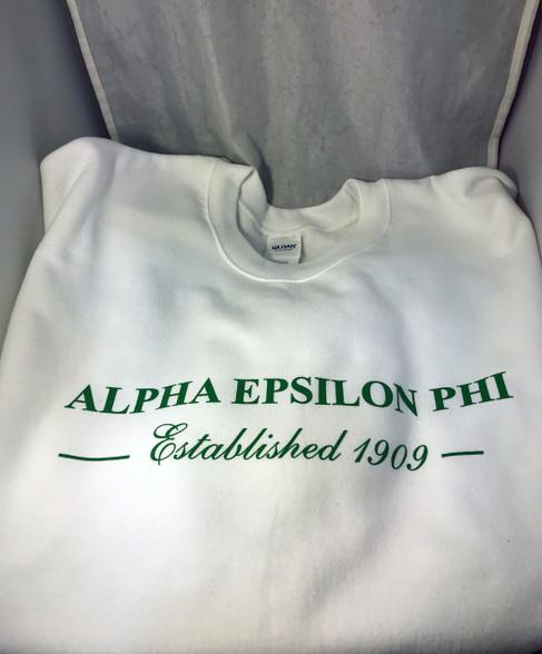 Alpha Epsilon Phi AEPHI Sorority Crewneck Sweatshirt- White