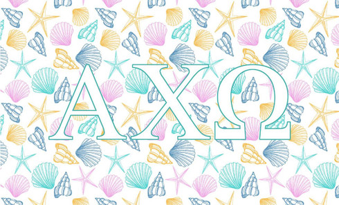 Alpha Chi Omega Sorority Flag- Seashells