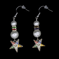 Order of the Eastern Star OES Pearl Earrings