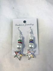 Order of the Eastern Star OES Pearl Earrings