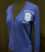 Zeta Phi Beta Sorority Button Up Cardigan- Blue