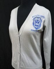 Zeta Phi Beta Sorority Button Up Cardigan- Silver