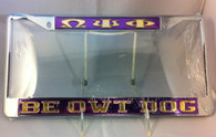 Purple background with gold letters