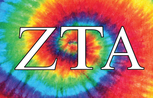 Zeta Tau Alpha ZTA Sorority Flag- Tie Dye