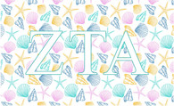 Zeta Tau Alpha ZTA Sorority Flag- Seashells