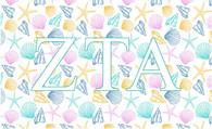 Zeta Tau Alpha ZTA Sorority Flag- Seashells