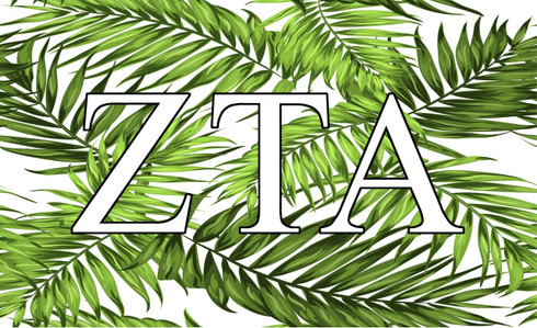 Zeta Tau Alpha ZTA Sorority Flag- Palm Leaves