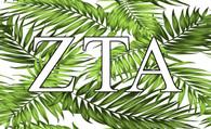 Zeta Tau Alpha ZTA Sorority Flag- Palm Leaves
