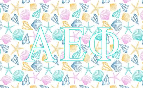 Alpha Epsilon Phi AEPHI Sorority Flag- Seashells