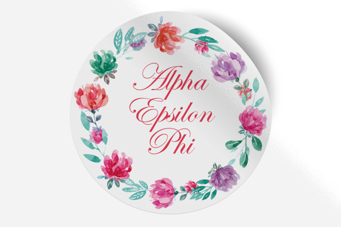 Alpha Epsilon Phi AEPHI Sorority Bumper Sticker-Floral