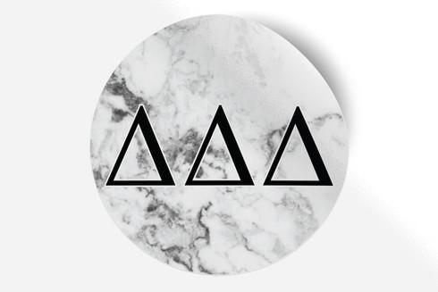 Delta Delta Delta Tri-Delta Sorority Bumper Sticker-Marble