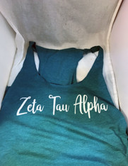 Zeta Tau Alpha ZTA Sorority Tank Top- Turquoise