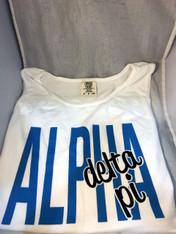 Alpha Delta Pi ADPI Sorority White Tank Top- English Spelling