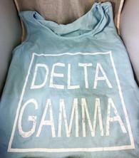 Delta Gamma Sorority Tank Top- Block- Light Blue