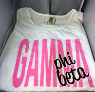 Gamma Phi Beta Sorority White Tank Top- English Spelling