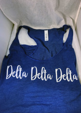 Delta Delta Delta Tri-Delta Sorority Tank Top- Blue