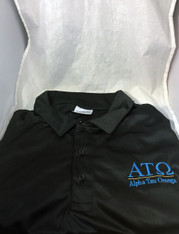 Alpha Tau Omega Fraternity Dri-Fit Polo- Black- Style 2