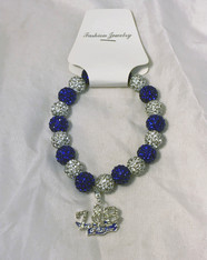 Zeta Phi Beta Sorority Bracelet with Symbol- Blue/White