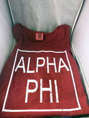 Alpha Phi Sorority Tank Top- Block- Brick