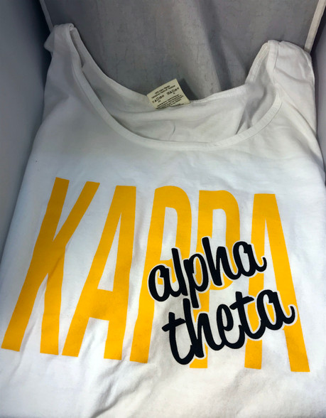 Kappa Alpha Theta Sorority White Tank Top- English Spelling