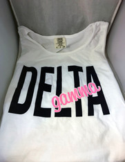 Delta Gamma Sorority White Tank Top- English Spelling