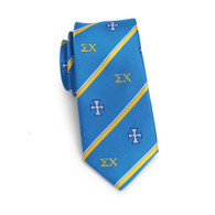 Sigma Chi Fraternity Skinny Necktie- Greek Letters and Symbol
