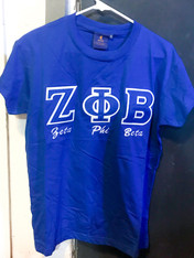 Zeta Phi Beta Sorority Stitched Letter Shirt- Blue