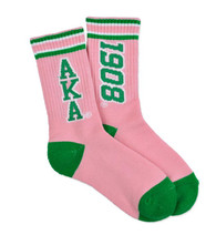 Alpha Kappa Alpha AKA Sorority Socks- Pink/Green