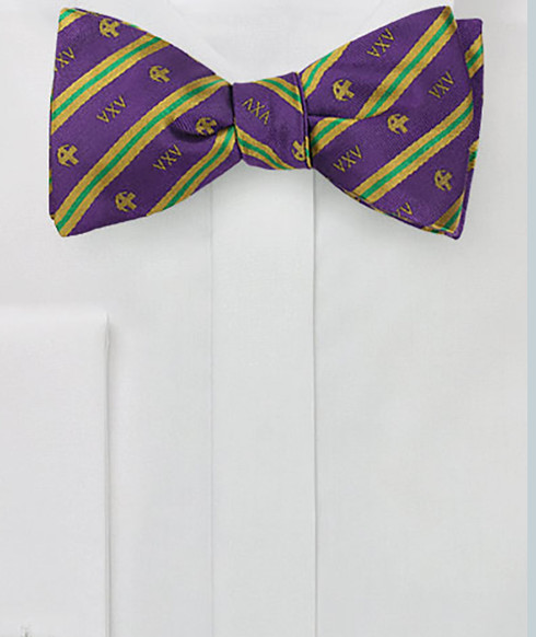 Lambda Chi Alpha Fraternity Silk Bow Tie- Self-Tie- Greek Letters