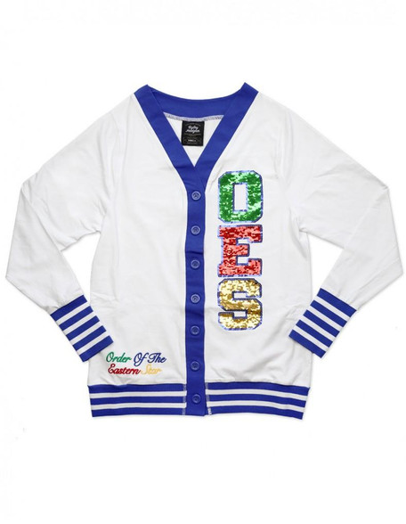 Order of the Eastern Star OES Sequin Patch Cardigan- White/Blue