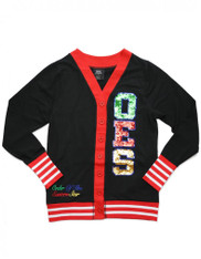 Order of the Eastern Star OES Sequin Patch Cardigan- Black/Red