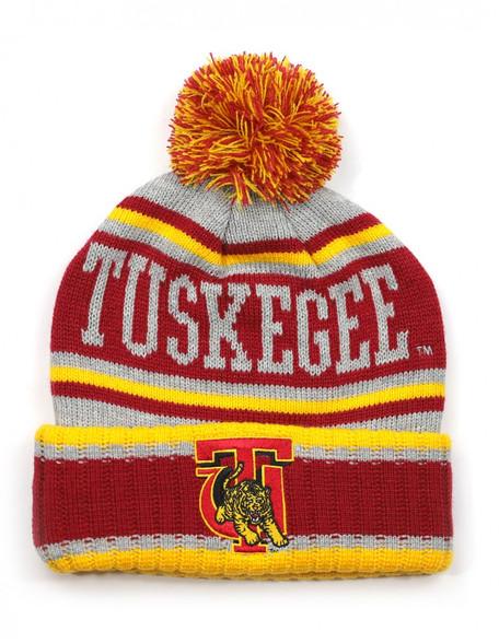Tuskegee University Pom Beanie- Gray