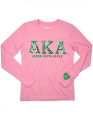 Alpha Kappa Alpha AKA Sorority Long Sleeve Shirt- Pink- Sequin Letters